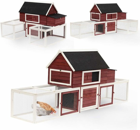 Big red barn chicken coop